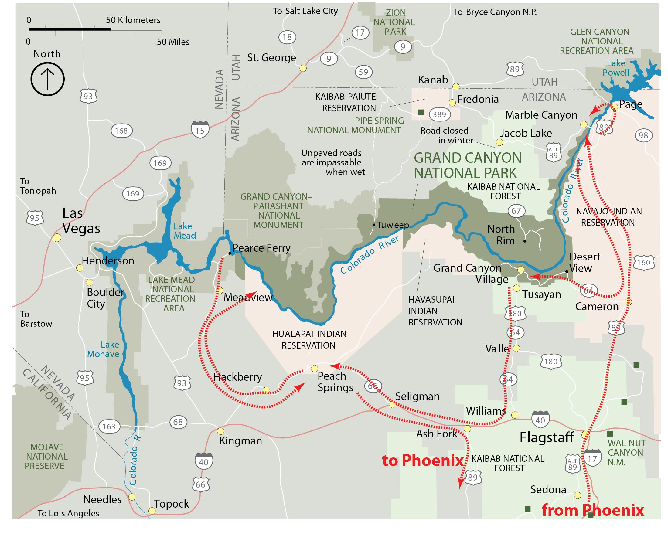 Hal Jespersens Grand Canyon Trip - Grand canyon tourist map
